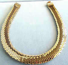VINTAGE GOLDPLATED OUTSTANDING MESH CHOKER NECKLACE ESTATE JEWELRY SO PRETTY