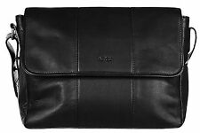 Armani Jeans Mens Genuine Leather Messenger Crossbody Bag B6259 T1 12 Black