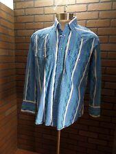 KARMAN Bright Blue Western Pearl Snaps long sleeved men's Medium