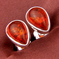 Novel Woman Jewelry Gift Teardrop Cognac Amber Gemstone Silver Stud Earrings New