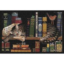 Max In The Stacks ~ Tabby Cat Tapestry Placemat ~ Artist, Charles Wysocki