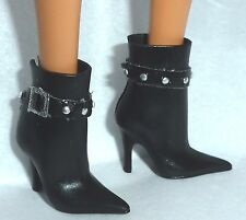SHOES ~ BARBIE DOLL MODEL MUSE BLACK JAZZ BABY CABARET FAUX BUCKLE ANKLE BOOTS