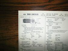1968 Lincoln Models 340 HP 462 & 365 HP 460 V8s SUN Tune Up Chart Great Shape!