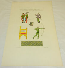 c1782 Antique COLOR Print/HUNTING CLOTHING/COSTUMES/USED IN 1380/ LORD of BEARN