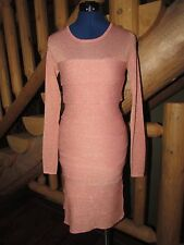 NEW NWT BCBG MAX AZRIA MARIAH LIGHT SWEATER KNIT DRESS METALLIC BLUSH SZ XS