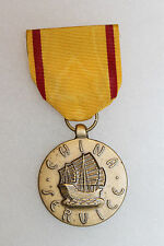 WW2 U.S. Marine Corps China Service Medal w/Ribbon, Pin Back, 1960s Strike