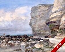 THE ROCKY BEACH CLIFFS OF FECAMP FRANCE PAINTING ART REAL CANVAS GICLEE PRINT