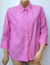 IZOD Womens Size XL Pink Button Front Collared Oxford Shirt 3/4 Sleeve