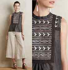 New Anthropologie Embroidered Peasant Tank M Beautiful Silk & Cotton By Tiny
