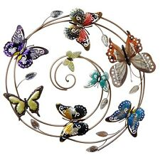 Stunning Metal Wall Art Decor Picture - Large Colourful 5 Butterfly Swirl