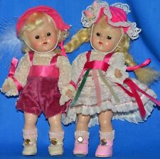 """Vintage 8"""" Vogue Ginny Dolls Lot of 2 Hansel and Gretel 1952 Tagged Outfits PL"""