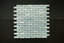 "5/8"" x 2"" CRYSTILE GLASS AND MARBLE MOSAIC TILE ON THE MESH WHITE BACKSPLASH"