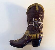 Hand Carved Western Cowboy Boot Horse and Cowgirl Art Carving