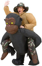 INFLATABLE RIDING GORILLA ADULT COSTUME Funny Headturner Theme Party Halloween