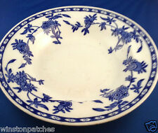 "ADDERLEY 1880 BRUGGE 10"" ROUND VEGETABLE SERVING BOWL FLOW BLUE FLOWERS DIAMONDS"