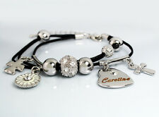 Genuine Braided Leather Charm Bracelet With Name - CAROLINE - Gifts for her