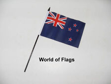 "NEW ZEALAND SMALL HAND WAVING FLAG 6"" x 4"" Oceania Table Crafts Desk Display"