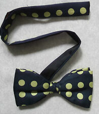 VINTAGE MENS DICKIE BOW TIE BOWTIE 1990s ADJUSTABLE SILK SLATE GREY YELLOW SPOTS