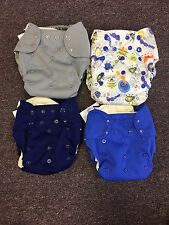 4 Blueberry Simplex Organic One Size Cloth Diapers/Stay Dry Soaker Navy Bugs NEW