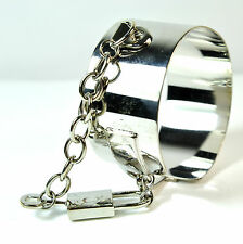 LADIES CHUNKY CHROME HANDCUFF STYLE BRACELET UNIQUE KINKY FETISH  NEW(A23)