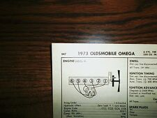 1973 Oldsmobile Omega 100 HP 250 CI L6 SUN Tune Up Chart Excellent Condition!