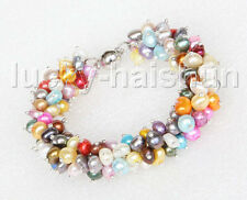 "stylish 8"" Baroque Multi-color pearls bracelet magnet clasp j11624"
