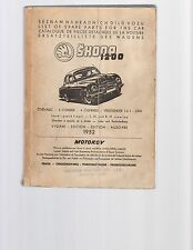 Skoda 1200 List Of Spare Parts, 1952 Edition, in English & Other Languages