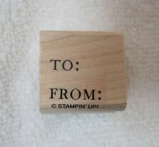Stampin Up Rubber Stamp To & From Gift Card Never Used !