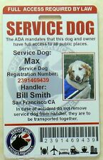 SERVICE DOG ID CARD / BADGE ASSISTANCE ANIMAL ADA TAG SERVICE ANIMAL  0 R