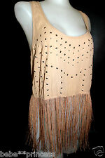 NWT bebe beige brown stud round neck racer back fringe dress top tank S small 4