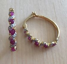 0.7ctwctw GENUINE RUBY STONE & DIAMOND HUGGIE EARRING NEW!