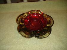 Superb Ruby Red Glass Ashtray-Double Glass Ashtray-Thick Glass-Art Glass-LOOK