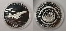 Liberia 2000 Large .999 Silver Proof $20-Concorde Airplane
