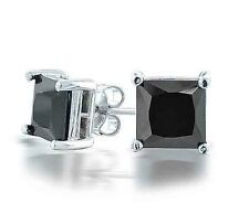 COOL Men's 9K WHITE GOLD FILLED BLACK SQUARE CZ Neutral Stud Earrings, F3873