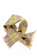 Vintage All Mohair Scarf Shawl Scotland Lavender Purple Chartreuse Green Plaid