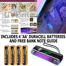 Hand Held UV Light Fake Money Checker Bank Note Tester & Torch Incl. Batteries