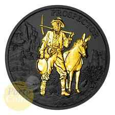1 oz 999 Fine Silver Prospector Ruthenium & 24k Gold Gilded Coin NEW