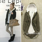 Winter Women Warm Fleece Zip Hooded Parka Overcoat Coat Long Jacket Short Blazer