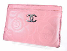 Auth CHANEL CC Camellia Business Card Case Holder Lambskin Pink A36542 A-3467