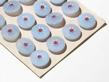card (24) 18 mm Czech Vintage hand painted pale blue flower glass buttons