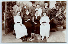 Antique WW1 GERMAN Real Photo RPPC Postcard OFFICER in Uniform w/ FAMILY & DOG