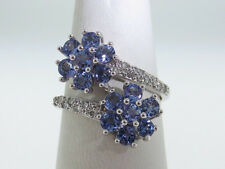 FLOWER Natural Tazanites Diamonds Solid 14K White Gold Ring FREE SIZING