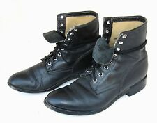 vtg 80s 90s LEATHER Granny Lace Up Boots 7.5/8 boho distressed JUSTIN Grunge