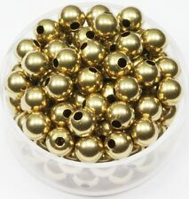 6 MM Solid Brass Round Seamless Hollow Beads Hole 1.8 MM Pkg.100  Natural, USA