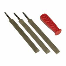 3 x Flat File For Chainsaw Saw Chain 150MM & Handle To Sharpen Depth Gauge