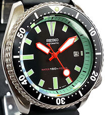 Vintage SEIKO diver 7002 mod All ORANGE Plongeur hands & MINT GREEN Chapter Ring