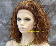 "20"" Curly Auburn Strawberry Blonde Mix Full Lace Front Wig Heat Ok Hair Piece"