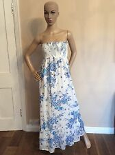 ALICE BY ALICE TEMPERLEY Long MAXI dress White & Blue Size Us 4 Uk 8, 30% Silk
