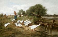 Hand painted oil painting young woman with ducks goose by stream landscape