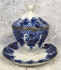 """Russian Imperial (Lomonosov) Porcelain Lidded Tea Cup and Saucer """"Garland"""" blue"""